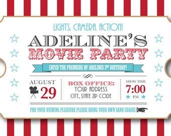Movie Night Birthday Party Invitation - 5x7 - Personalized - Printable Digital File