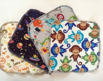 Assorted knit prints, organic cotton and bamboo backed wipes