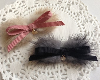 Girl Fur Hair Bow - Choose One from Two Colors - Non Slip Alligator Clip