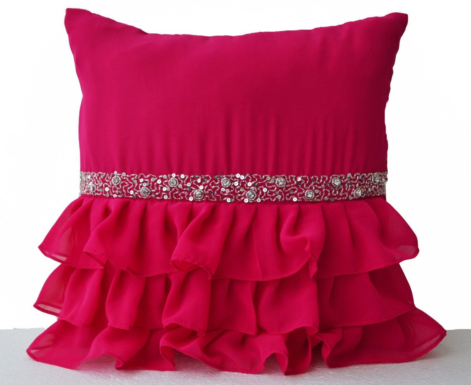 Pink Sequin Decorative Pillows : Cute Hot Pink ruffle sequin throw pillow 16X16 Decorative