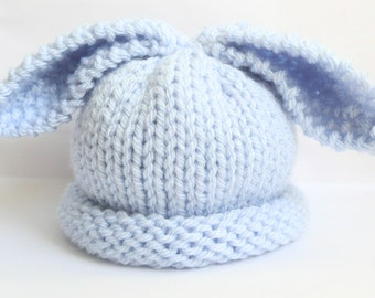 Knitted baby boy hat bunny rabbit - pastel blue - PICK OWN SIZE - preemie newborn baby toddler child - hand knitted - Easter photo prop