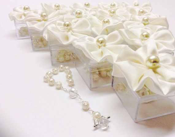 30pcs Ivory Favors Wedding Baptism Favor Box With Rosaries