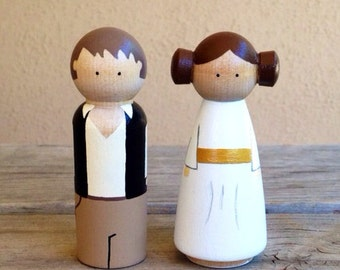 Hans solo and Princess Leia LARGE peg doll cake topper