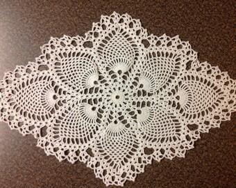 Crochet Pineapple Doily White