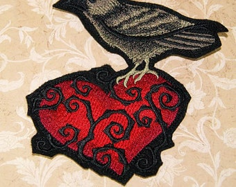 Raven Heart with Vines Iron On Embroidery Patch MTCoffinz