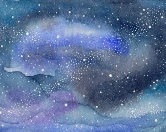 Abstract Painting 5x7 Celestial Cosmos Galaxy Stars Stardust Indigo Cerulean Blue Mauve Original Watercolor Wonders Series No. 14