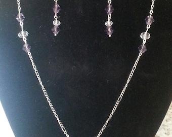 Purple Crystal Necklace & Earring Set