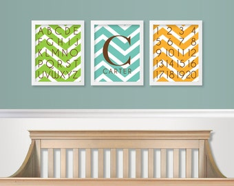 Custom Nursery Art Prints - Baby Boy Nursery - Baby Monogram Nursey Decor - ABC - 123 Chevron SET of 3 Nursery Wall Art / Kids Room