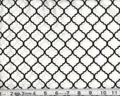 Fabric MINI Quatrefoil Black on White  White Black Quatrefoil Cotton 1 Yard