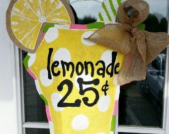 Burlap Lemonade door hanger