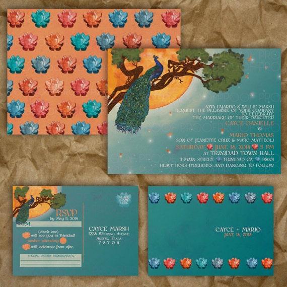 Peacock Golden Sun Wedding Invitation Turquoise And Orange