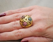 Vintage Statement Ring, Pastel Rhinestones Large Round Center Gold Tone Setting ITEM WKG1383802OY2