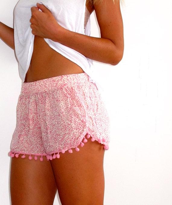 Pom Pom Shorts Pale Pink and White Mini Leaf Print