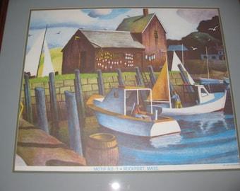 "MOTIF No. 1 ROCKPORT MASS. Large Framed 1988 Print by Joseph DiGemma  29""  X  32 1/2"""