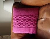 "Knitted Cable Pillow, Hand Knit Cushion Cover, Cerise Pink Throw Pillow, 16"",40cm - MANTON"