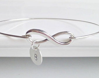 Infinity Bracelet, Infinity Initial Bangle, Bridesmaid Gifts, Friendship Bracelet, British Seller UK, Stacking Bangle, BFF, Sister Gift