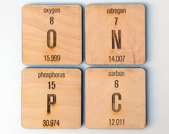 6 pc. Laser Cut Wood Periodic Table Elements Coasters