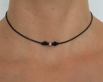 Necklace Infinity 02 Silver Leather Handmade - Eternity (N202SV-L)