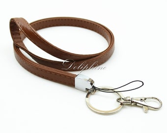 Brown Durable Leather Necklace Lanyard for ID badge holder