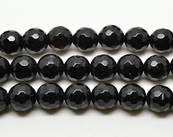 """15""""  8mm  Black  Agate    Faceted    Round  Beads, Onyx  Faceted"""