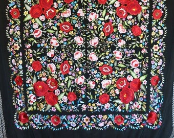 Hand embroidered silk piano shawl, spanish flamenco dancewear
