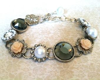 Rhinestone and Pearl Bracelet, Estate Style Jewelry, Downton Abbey Jewelry, Victorian Jewelry