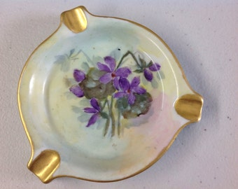 Vintage Handpainted Porcelain Violets Ashtray
