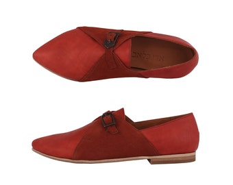 ON SALE 30% Red leather Women's shoes , handmade pointy monk shoe , free shipping , ADIKILAV