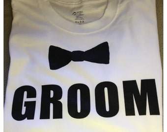 Groom T Shirt with bow tie - White shirt with Black imprint