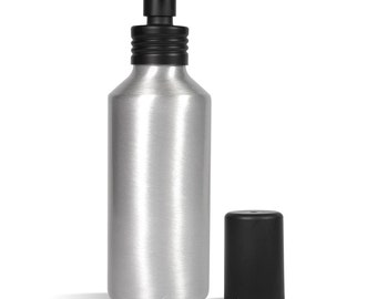 4 Ounce Silver Metal Bottle with Black Sprayer and Cap