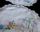 Vintage linen doilies hand embroidered English garden wisteria hollyhocks 23 cm