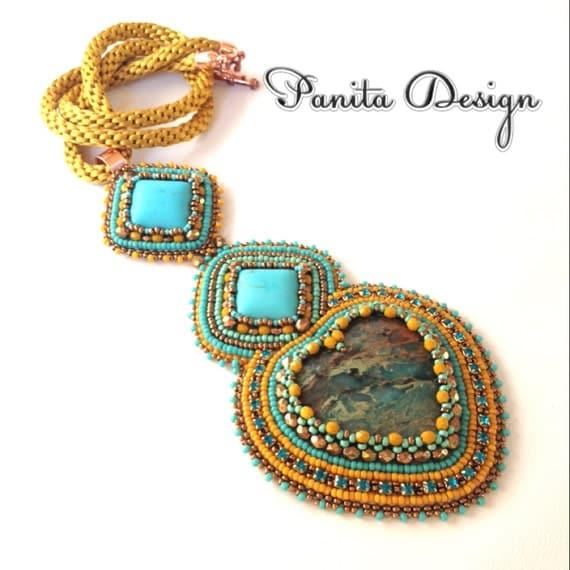Bead embroidery necklace pendant kumihimo turquoise