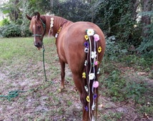 Equine Flowered Tail Decoration - Pink Purple Yellow White Flower Tail Ornament for Horses - Equine Costume - Horse Tail Drape
