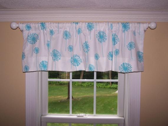 items similar to light blue valance light blue curtains blue drapes blue and white dandelion. Black Bedroom Furniture Sets. Home Design Ideas
