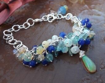 Ethiopian Opal, Sapphire, Blue Apatite Bracelet in Sterling Silver