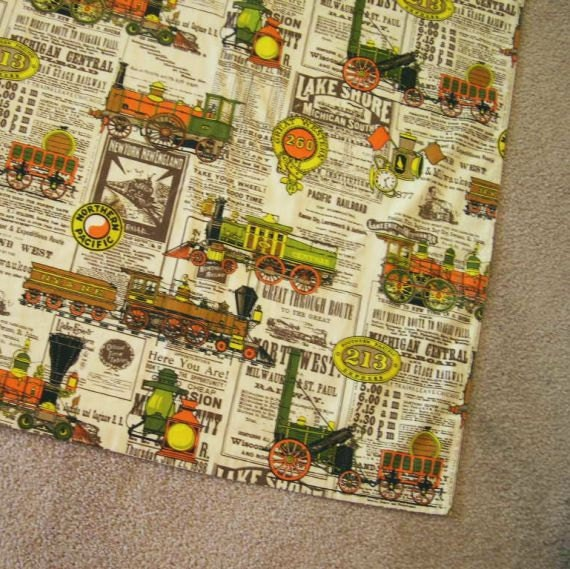 Sale vintage 70s railroad print curtain heavy by for Train themed fabric