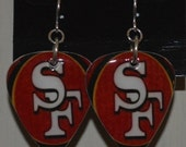 SF 49er's Guitar Pick Earrings