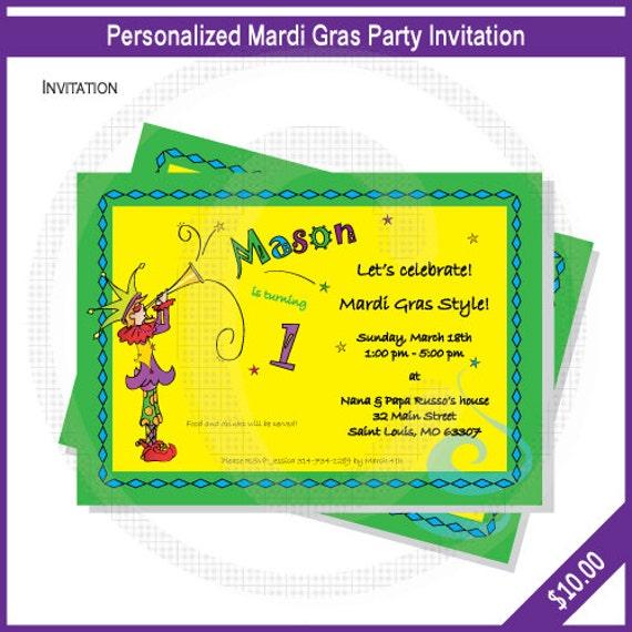 items similar to mardi gras party invitations baby shower invitation
