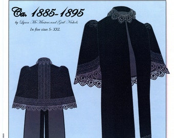 Victorian 1885-1895 Evening Cape w/Lace Trim size S-XXL - Lynn McMasters Sewing Pattern # 50