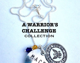 A Warrior's Challenge Navy Seal Team Mace Charm and Silver Plated Chain Necklace with Swarovski crystals