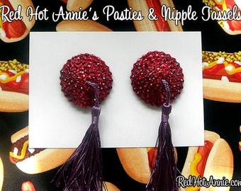 Rhinestone Burlesque Pasties w/Tassels (Red/Purple)