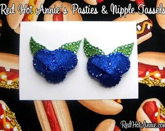Rhinestone Blueberries Burlesque Pasties (Blue)