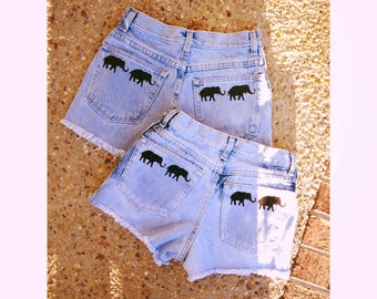 High waisted light blue elephant shorts (1pair)