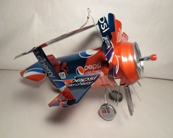Airplane Whirl-A-Gig Made From Cherry Pepsi Cola Cans
