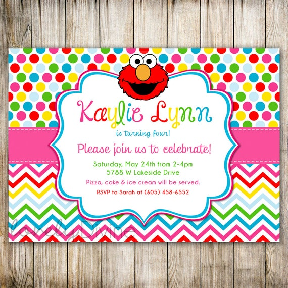 Invitación de cumpleaños de arco iris ELMO Sesame Street