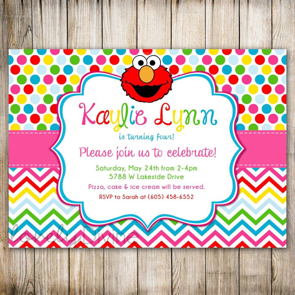 ELMO Rainbow Birthday Invitation Sesame Street Dots 1st – Printable Elmo Birthday Invitations