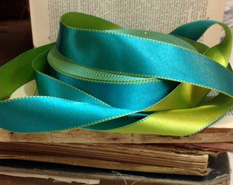 bright turquoise and lime green satin ribbon