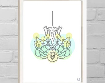 Chandelier In Colors Illustration Print
