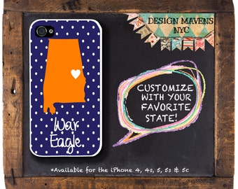 War Eagle iPhone Case, Personalized iPhone Case, Fits iPhone 4, iPhone 4s & iPhone 5, iPhone 5s, iPhone 5c, iPhone 6,Phone Cover,Phone Case