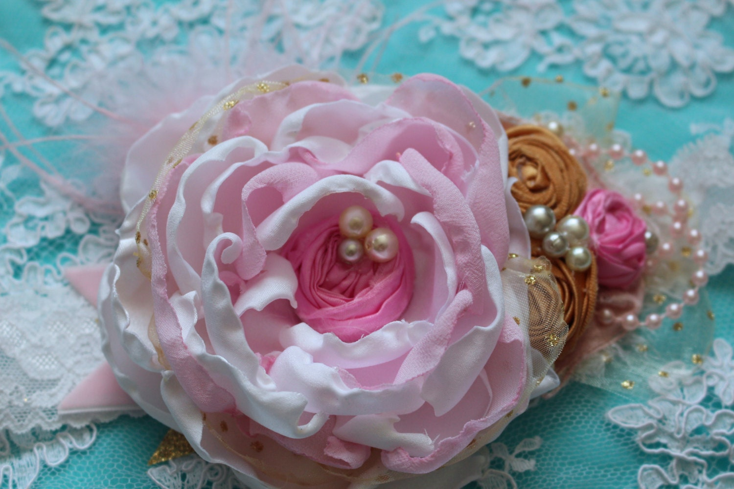 White Pink And Gold Flowers Headband Girls Hair Accessory Baby